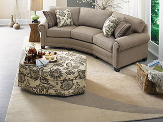 Photo of living room furniture sold by Design Avenue Home Furnishings with one of the largest selections of rugs asheville nc.